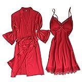 Lazzboy Satin Silk Pyjama Nachthemd Frauen Robe Unterwäsche Nachtwäsche Dessous Damen Nachtkleid V Aussschnitt Gedruckt Schlafshirt Negligee Für Sommer Kleider(Rot,2XL)