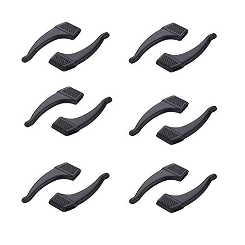 NORHOR Antirutsch Halterung für Brillenbügel Set - 6 Paare Ohrbügel Silikon Haken für Brille - Silikon Antirutsch Überzüge für Brillen Sonnenbrillen.