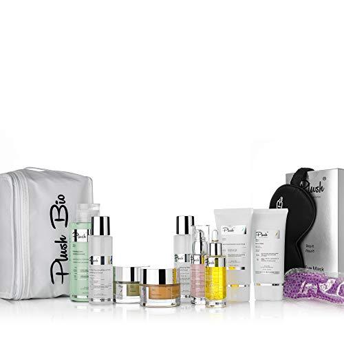 Plush luxuryBIOcosmetics - Kit de desintoxicación - set 11 productos + un regalo de bolsa térmica - limpia impurezas, egenera - tipos de piel: grasa, mixta, normal