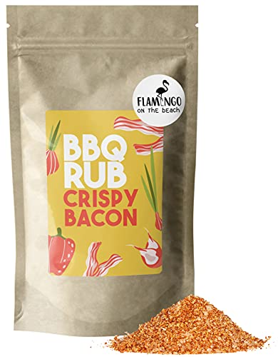 BBQ RUB Crispy Bacon - Gewürzmischung aus hochwertigen Zutaten - Knuspriger Speck, Smoked Chicken, krosser Schulterbraten, Steak - 250 g im nachhaltigen Papierbeutel - FLAMINGO ON THE BEACH