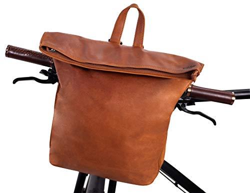 Gusti Rucksack Leder - Moreno A. Fahrradrucksack Lederrucksack Cityrucksack Damen Herren kompatibel mit Klickfix Hellbraun