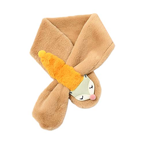 WE-WHLL niños niñas niños Invierno Espesar imitación de Pelo de Conejo Bufanda Cruz Loophole Collar Lindo Zorro Bufanda niños a Prueba de Viento Cuello Calentador