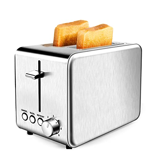 Toaster, 2 Slice Stainless Steel toaster, 6 Shade Settings Extra-Wide Slot Toaster with Bagel, 2 Slice Toaster with Cancel, Defrost, Reheat Function Removable Crumb Tray