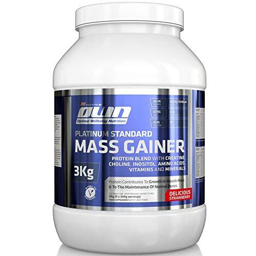 OWN - Platinum Standard Mass Gainer mit Vitaminen, Kreatin und Glutamin zum Aufbau der Muskelmasse, Erdbeergeschmack, 3 kg