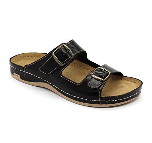 LEON 702 Sandalias Zuecos Zapatillas Zapatos de Cuero Hombre, marrón, EU 42
