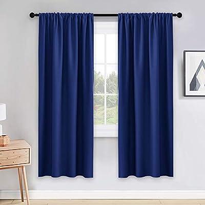 PONY DANCE Blackout Window Curtains - Rod Pocket Window Treatments Curtain Panels/Draperies Room Darkening Noise Reducing Home Fashion, Wide 42 x Long 72, Purplish Blue, One Pair