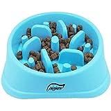 Fun Feeder Slow Feed Non-Slip Dog Bowl Stop Bloat Pet Bowl Drink Water Bowl Square Base Sky Blue