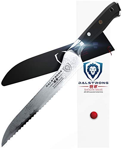 DALSTRONG Serrated Offset Bread and Deli Knife- Shogun Series - Damascus - AUS-10V Japanese Super Steel - Vacuum Treated- 8' - Included Sheath