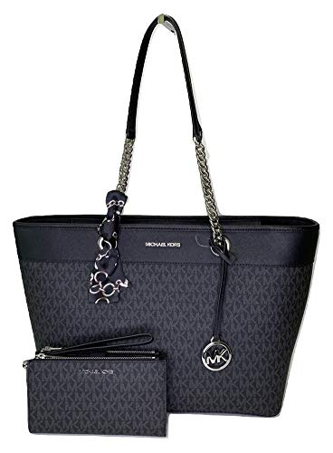 Bundle of 3 items: MICHAEL Michael Kors Shania Large EW Chain Tote bundled with matching Michael Kors Jet Set Travel Large Double Zip Wallet/Wristlet and Couture du Jour Skinny Scarf Extra Large Saffiano Leather Tote, Top zip closure, Double top hand...