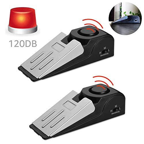 ASEOK Mini Wireless Türstopper Alarm, 2 Stück keilförmig Türstopper Blocking Sicherheitssystem mit 120 dB Sirene Große Sicherheits-Werkzeuge für Zuhause, Hotel, Wohnung oder Wohnheim Alarmerkennung