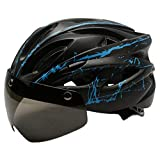 Perfeclan 取り外し可能なMaeticゴーグルバイザー付きの調整可能な大人用ヘルメットマウンテンロードバイクライディングヘッドプロテアクラッシュハット - ブラックブルー