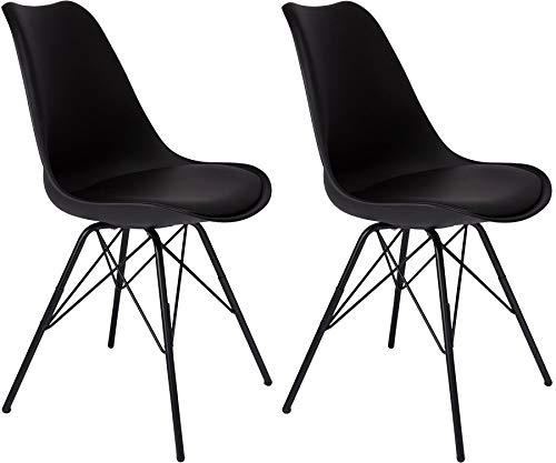 SAM 2er Set Schalenstuhl Lerche, Kunststoffschale in Schwarz, integriertes Kunstleder-Sitzkissen, Schwarze Metallfüße, Esszimmerstuhl im skandinavischen Stil