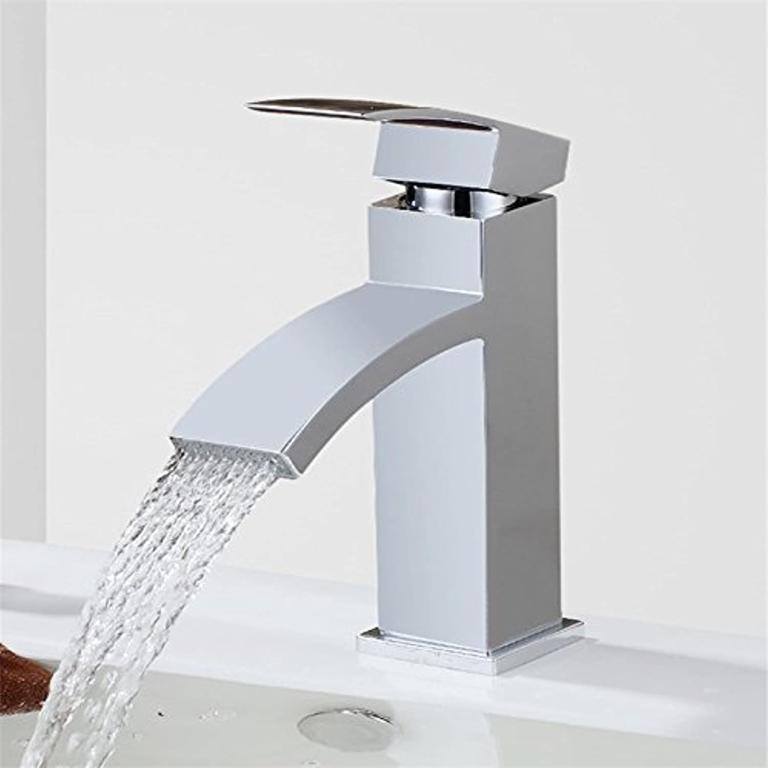 Gyps Faucet Basin Mixer Tap Waterfall Faucet Antique Bathroom The Waterfall Single Handle Flat Nose basin wide nozzle, hot and cold water faucet Chrome color stainless steel bathroom kitchen sink