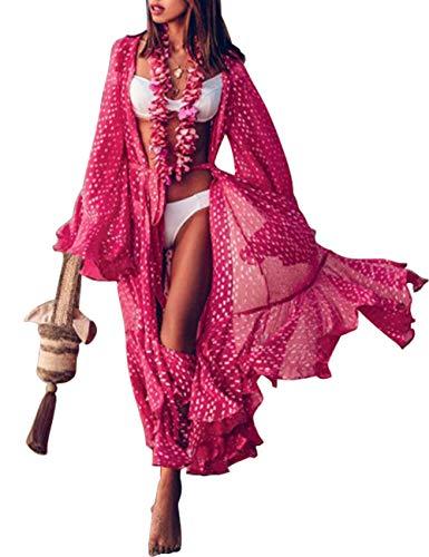 Túnica larga para mujer, de gasa, tipo kimono, cárdigan, vestido, con estampado floral, para llevar con bikini, ideal para verano Estilo 10. Talla única