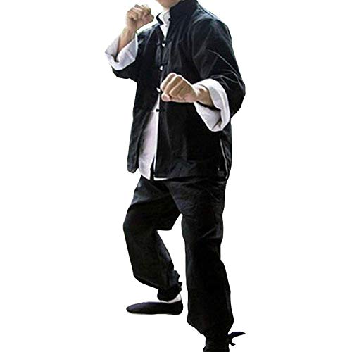 MYDFG Conjunto De Uniforme De Kung Fu, Traje De Tres Piezas De Bruce Lee, Trajes De Tai Chi De Artes Marciales, Uniforme Tradicional De Shaolin Kung Fu Wing Chun, Traje Tang para HombresBlack-Small