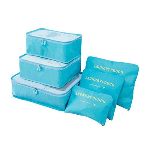 Koffer Organizer Reise Kleidertaschen, EASEHOME 6 Stück Wasserdichte Kofferorganizer Packtaschen Reisegepäck für Kleidung Schuhe Unterwäsche Kosmetik, Hell Blau