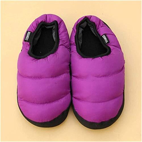 ZHEYANG Pantuflas para mujer coloridas y cálidas para parejas, de algodón, para hombres y mujeres, para interiores (color: naranja, talla de zapato: 11) (color: lavanda, talla: 44)