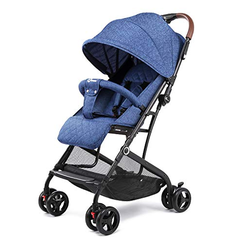 Lightweight Stroller, Aluminum Baby Umbrella Convenience Stroller, Travel Foldable Design with Oxford Canopy/ 5-Point Harness/Cup Holder/Storage Basket (Blue)