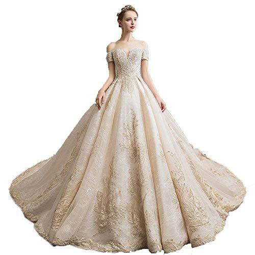 Inicio Accesorios g Vestido Mujer Fuera del Hombro Apliques de Encaje con Cuentas Tren Largo Vestido de Novia Vestido con Cordones en la Espalda Elegante Vestido de Novia Fiesta Formal Vestidos de