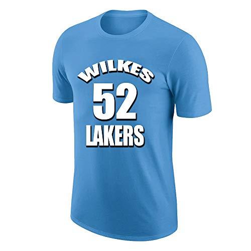 NQFL Camiseta Transpirable de Manga Corta para Hombre Jamaal Wilkes # 52 Fans de Baloncesto Moda gráfica gráfica Camisa de Cuello Redondo Party Sports Jersey S-XXXL (Color : Blue, Size : 2XL)