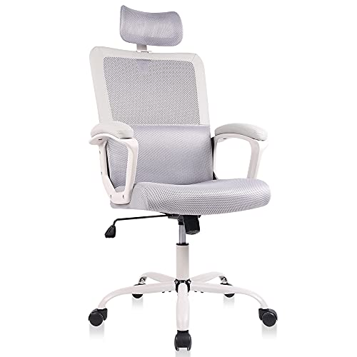 Mesh Office Chair, High Back Ergonomic Executive Computer Desk Task Chairs Comfy Soft Armrests with Adjustable Headrest and Lumbar Support, Gray