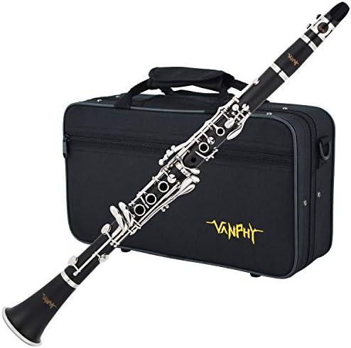Vanphy B Flat Clarinet Black Ebonite Clarinet Student Beginner Nickel plated Keys with Mouthpiece product image