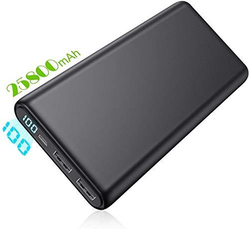 Trswyop Batería Externa 25800mAh, Power Bank [Nueva Versión 2020] Ultra Velocidad Capacidad 2 Puertos Pantalla LCD Carga Rápido Cargador Portátil para Móvil Compatible con Smartphones Tabletts y Más