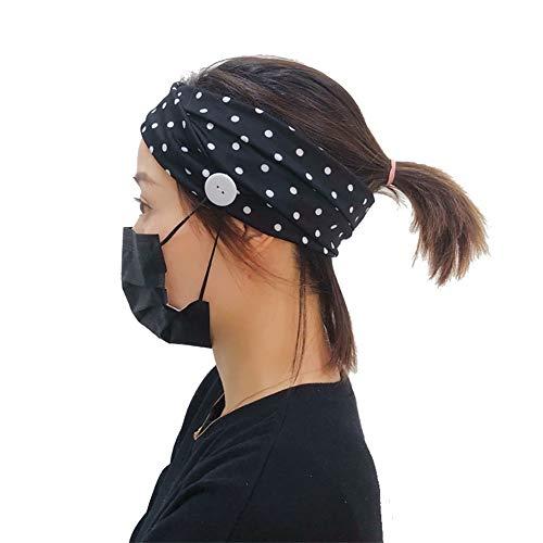 Casue Ohrendruck entlasten Stirnband mit Knopf, Headband Knopf Stirnband Yoga Gehörschutzhalter,Knopf Stirnband Gesichtshalter und alle die tragen-Schützen Sie Ihre Ohren mit diesem Stirnband