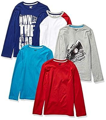 Spotted Zebra Boys' Kids Long-Sleeve T-Shirts, 5-Pack Game Time, Medium