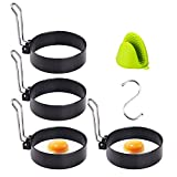 Egg Ring,LeeLoon 4 Pack Stainless Steel Egg Ring Molds With Non Stick Metal Shaper Circles For Fried Egg McMuffin Sandwiches,Frying Or Shaping Eggs,Breakfast Household Kitchen Cooking Tool Omelette