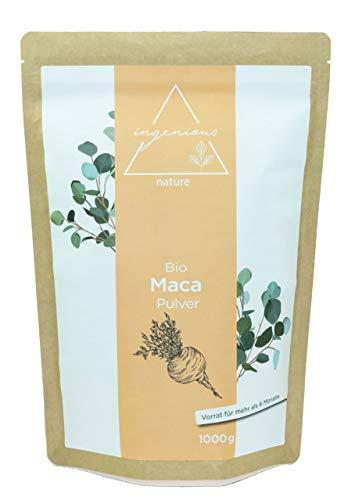 ingenious nature® Laborgeprüftes Bio Maca Pulver 1000g - von der schwarzen Maca Wurzel - 100% rein, ohne Zusätze, roh, aus Peru. Angebaut auf über 4400m.