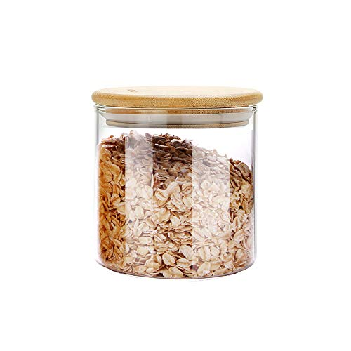 SIXAQUAE Glass Food Storage Containers Jar Seal Bamboo Lids 600ml Airtight Canister Organization Sets Stackable…