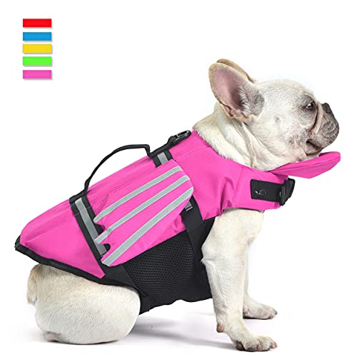 Dog Life Jacket, Doggy Pet Life Vest, Puppy Dog Flotation Lifesaver Preserver Swimsuit with Handle for Swim, Pool, Beach, Boating, for Puppy Small, Medium, Large Size Dogs