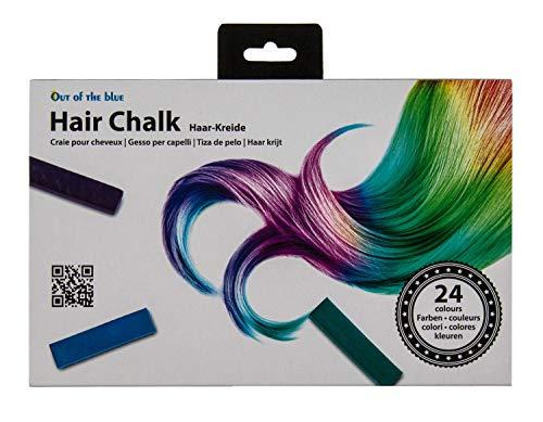 Out of the Blue 36/2082 - Haarkreide in 24 verschiedenen Farben, ca. 4 cm, in praktischer Aufbewahrungsbox