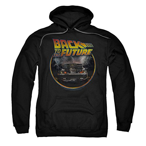 Licensed Back To The Future DeLorean Hoodie, Black, Adults S to 3XL