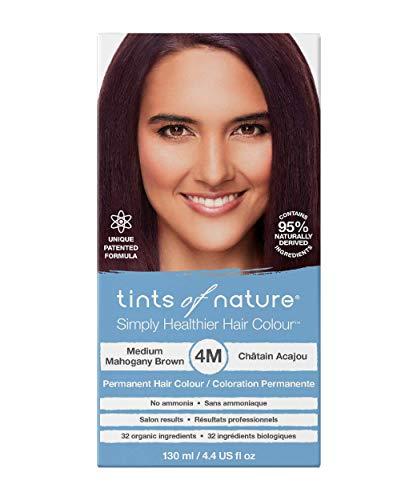 Tints of Nature 4M Medium Mahogany Brown, Vegan Permanent Hair Dye, 95% Natural, Free from Ammonia, Parabens, and Propylene Glycol, Single
