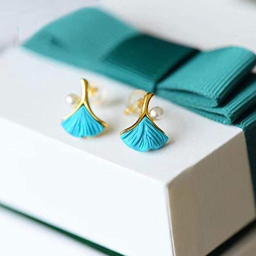 SALAN Sintético Turquesa Artesanía Pendientes De Perlas Geométricas Exquisito Pequeño Encanto Marca De Mujer Joyería