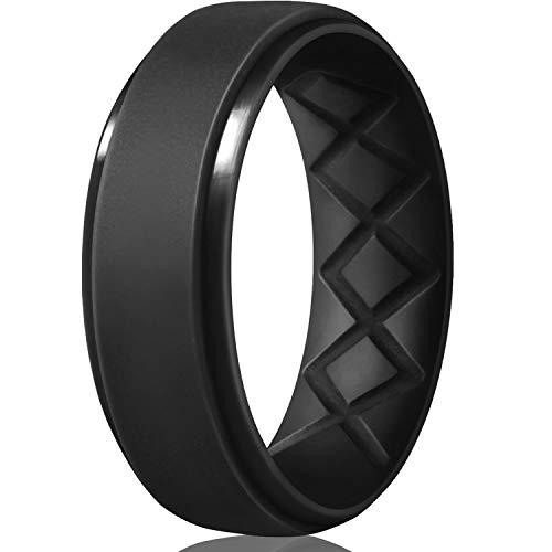 Egnaro Inner Arc Ergonomic Breathable Design, Silicone Rings Mens with Half Sizes, 7 Rings / 4 Rings / 1 Ring Rubber Wedding Bands, 8.5mm Wide-2mm Thick