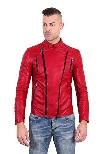 D'Arienzo - rot Lederjacke doppelter Verschluss aus Nappaleder mit glatter Wirkung - 56, rot