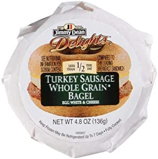 Jimmy Dean D lights Turkey Sausage, Egg White and Cheese Breakfast Sandwich Bagel, 4.8 Ounce -- 12 per case.