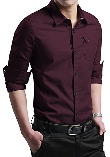 XTAPAN Men's Casual Slim Fit Shirt Cotton Long Sleeve Button Down Dress Shirt (US XS =AS L, Dark Wine Red##)