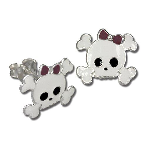 Tee-Wee bambini orecchini Teschio bianco con fiocco in argento Sterling 925 bambini orecchini bambini drachensilber SDO8108W