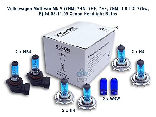 ampoules de phare de voiture d'effet de xénon H1 H7 W5W, 6-pack