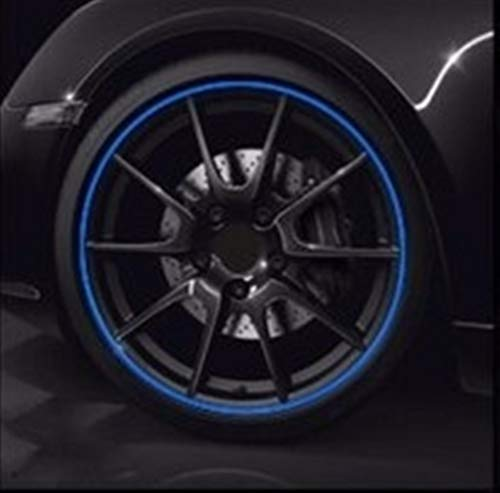 Pegatinas Styling Cromo de la Rueda Tira 8M / Rollo de Coches Llantas Protector decoración Tira de Goma La moldura en Color del Coche del vehículo de neumáticos Moda (Color : Blue)