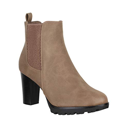 Elara Damen Stiefeletten Chelsea Boots Chunkyrayan KL0160 Khaki-38