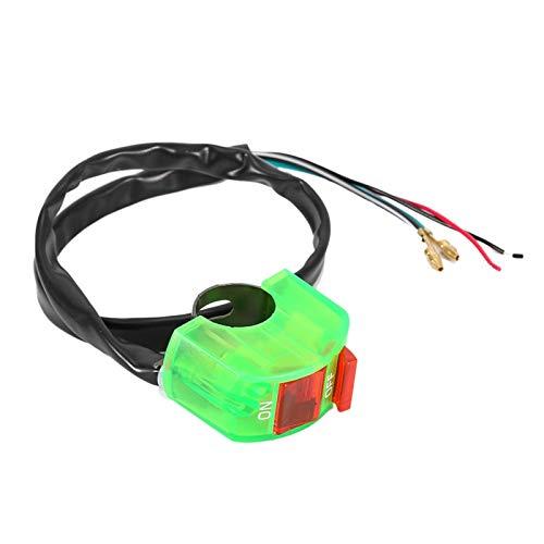 Mango Botón de luz Conector de botón Interruptores de botón prácticos para bicicleta ATV(green)