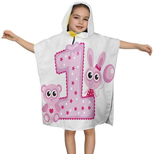 Toalla de baño con capucha para 1er cumpleaños, tema de fiesta para niñas con primera vela de conejito y animales de oso, 61 x 60 cm, ideal para piscina cubierta, ponchos, batas o cabos
