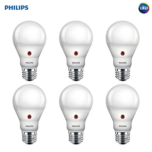 Philips LED Dusk-to-Dawn A19 Frosted Light Bulb: 800-Lumen, 2700-Kelvin, 8-Watt (60-Watt Equivalent), E26 Base, Soft White, 6-Pack