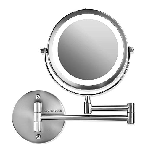 Ovente Wall Mounted Vanity Makeup Mirror 7 Inch with 10X Magnification and -