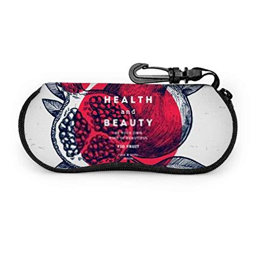 Brillenetui, Granatapfelfrucht Vintage Design Vorlage Botanische Sonnenbrille Weichetui Ultraleichtes Neopren-Reißverschluss-Brillenetui mit Karabinerhaken, Sonnenbrillenetui für Männer